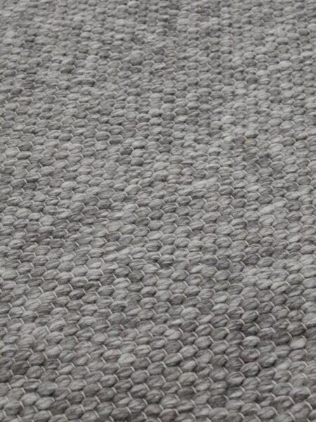 Hunter textured flatweave rug in silver grey handmade from wool