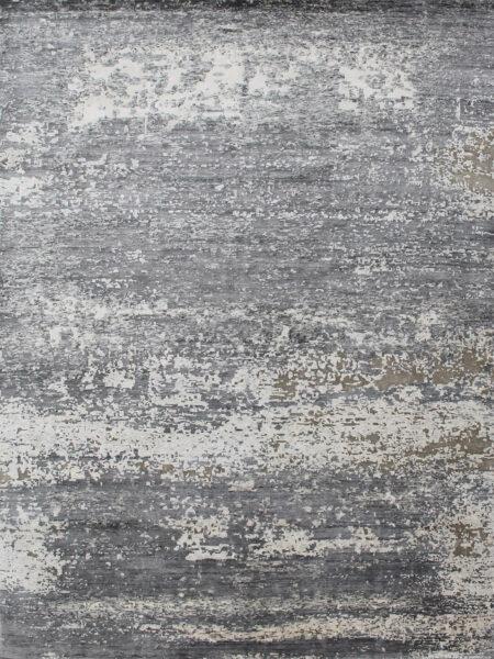 Dover luxury designer handknot rug in natural grey overhead image