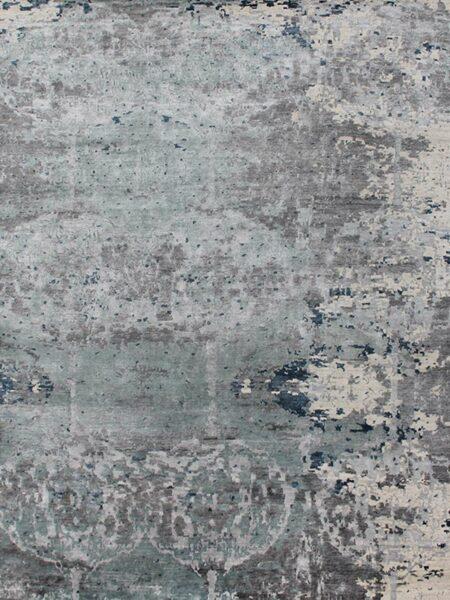 Saturn blue handknot rug overhead