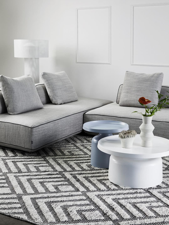 Hannah Sofa with Zamora Taupe rug and Lulu coffee and side tables