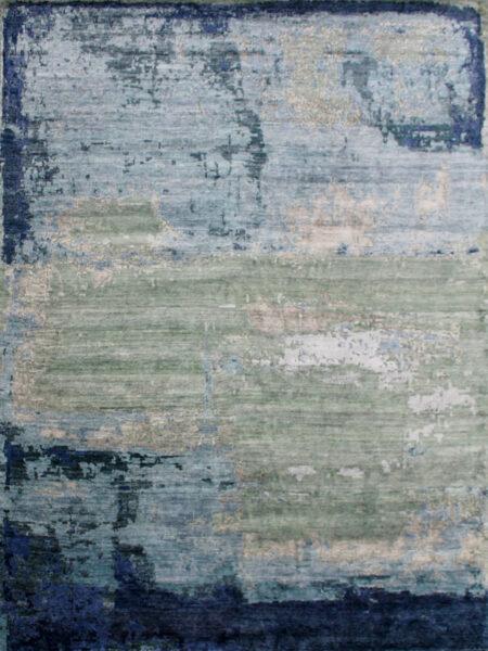 Genoa Green luxury handknot rug overhead image