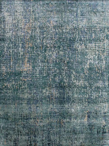Kowloon Green luxury handknot rug overhead image