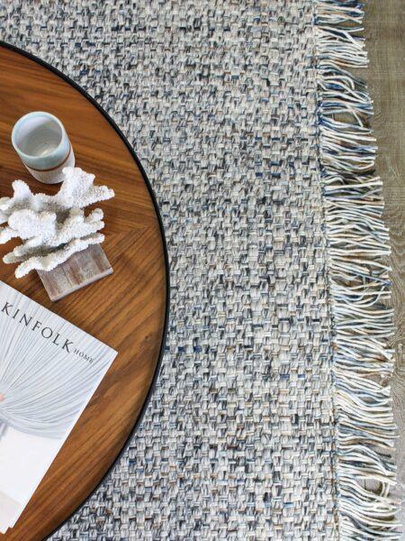 Bijou Mist handwove wool rug - lifestyle image