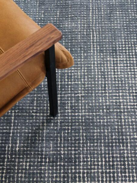 Capri Denim blue rug handmade from wool and nylon - lifestyle image