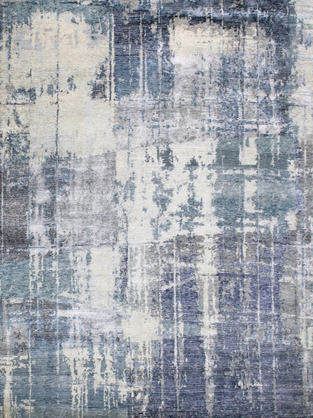 Naples Blue luxury handknotted rug in wool and artsilk