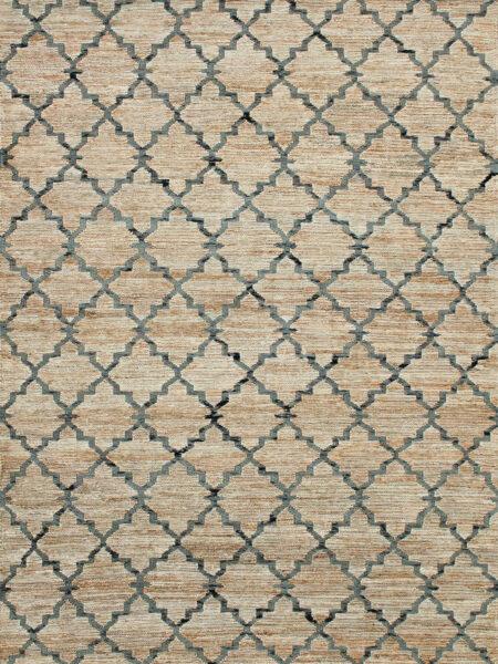 Bengali handwoven jute rug in Natural / Denim