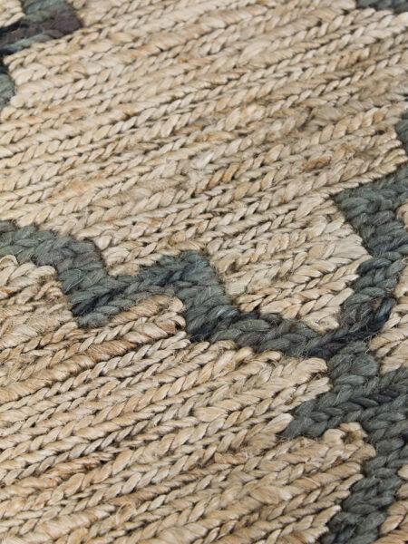 Bengali handwoven jute rug in Natural / Denim - detail image