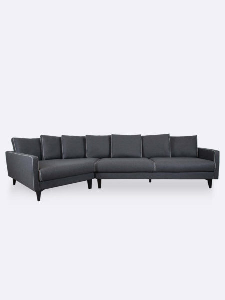 Camille Sofa dark grey felt fabric lounge with contrast piping