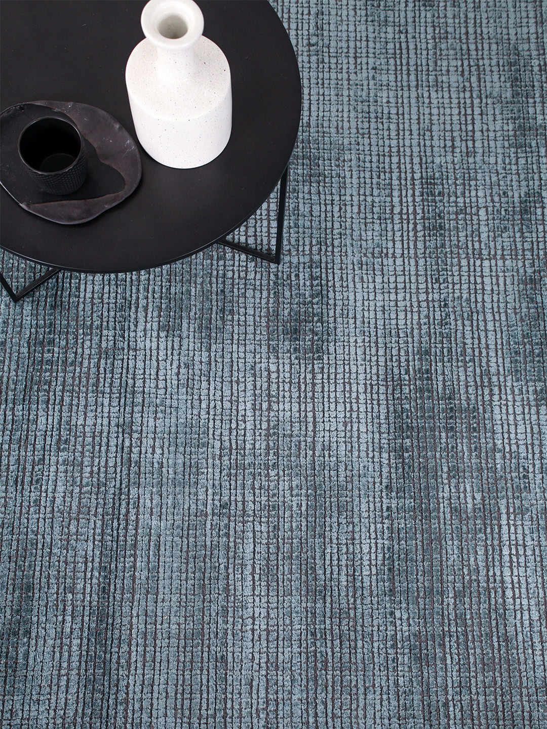 Lava Teal blue textured rug handloom knotted in wool and artsilk