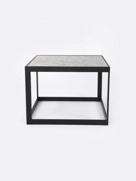 Ezra Grey side table with black metal frame