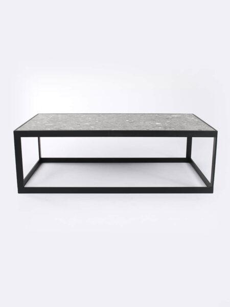 Ezra Grey coffee table with black metal frame