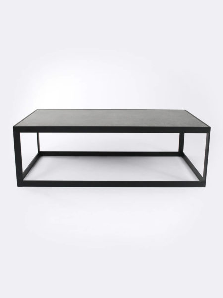 Ezra Slate grey coffee table with black metal frame