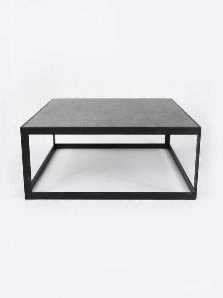 Ezra Slate grey square coffee table with black metal frame