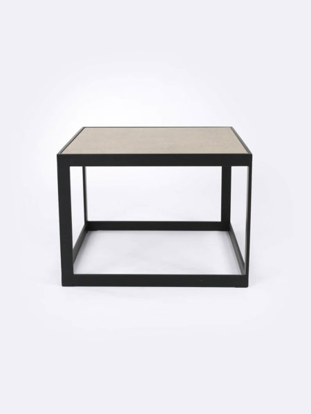 Ezra Stone beige side table with black metal frame