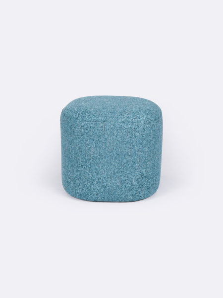 Astro small ottoman in Turquoise blue fabric