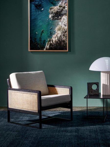 Diva odyssey rug with Remi Rattan Chair