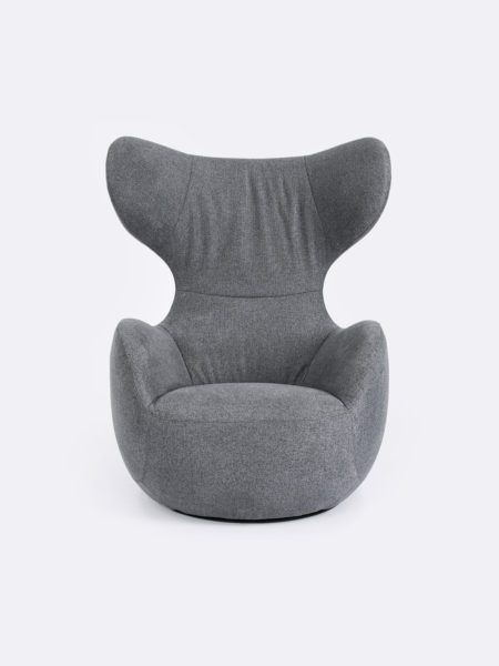 Elroy Swivel Chair upholstered in Carbon grey fabric