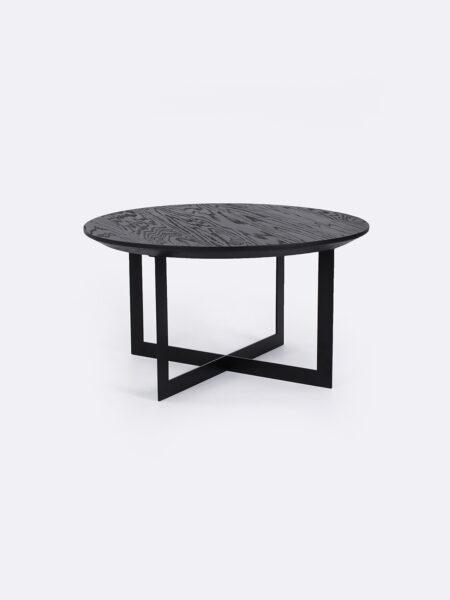 Harry Nest Table in Black Oak with black metal base