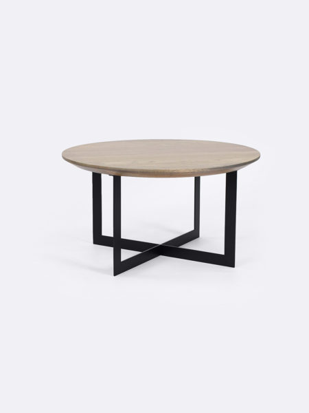 Harry Nest Table in Smoked Oak with black metal base