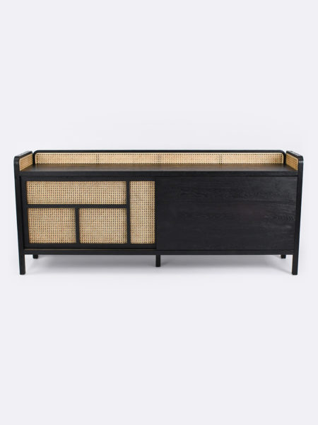 Hugo sideboard with rattan features and black timber frame