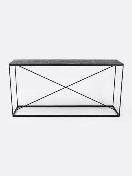 Kendall console in Black Oak timber with black metal frame - front view