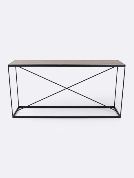 Kendall console in Smoked Oak timber with black metal frame - front view