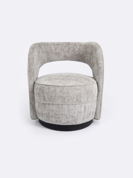 Lara Club Chair in Pebble fabric. Luxurious occasional chair with metal base.