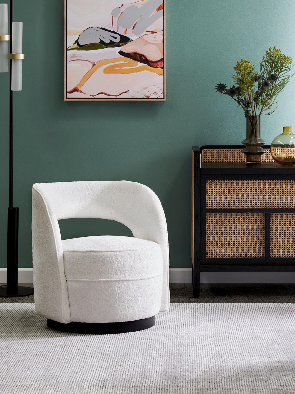 Lara Snow chenille velvet fabric occasional chair