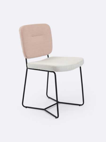 Candy dining chair in two tone fabric in pink and natural with black legs