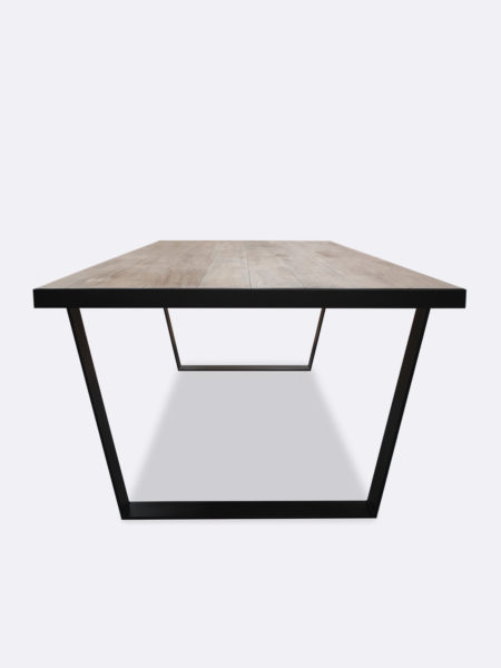 Carter Dining table in smoked oak side view