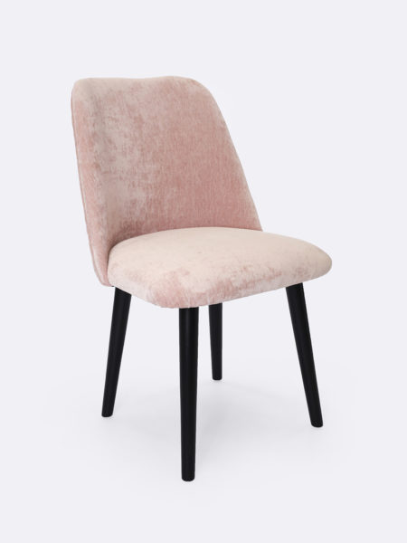 Victoria blush pink chenille velvet dining chair