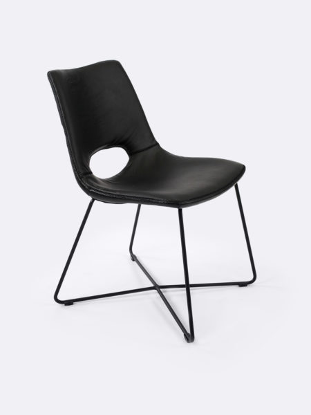 Baxter dining chair in guntmetal black leather colour front angle view