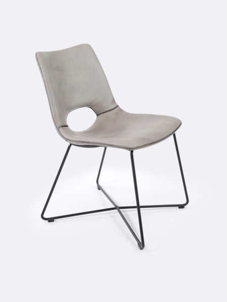 Baxter dining chair in concrete grey leather colour angle front view