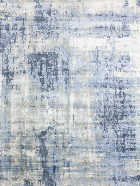 Jaipur Atlantic blue grey handwoven artsilk rug overhead image