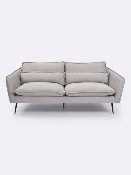Marley 3 seater sofa upholstered in Grey cotton canvas fabric