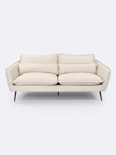 Marley 3 seater sofa upholstered in Oatmeal cotton canvas fabric