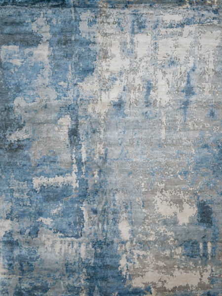 Boston Blue luxury handknot rug in wool and artsilk - overhead image