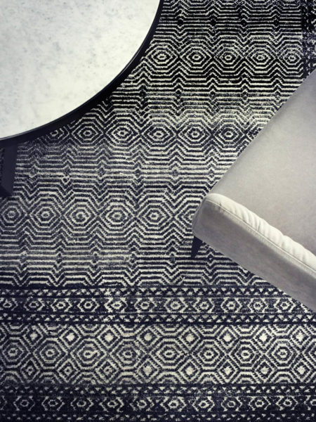 Harmony black and white traditional rug