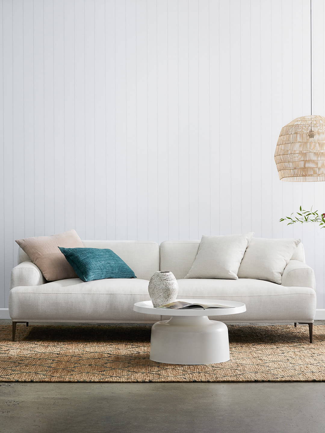 Alexis Natural upholstered contemporary 3 seater sofa