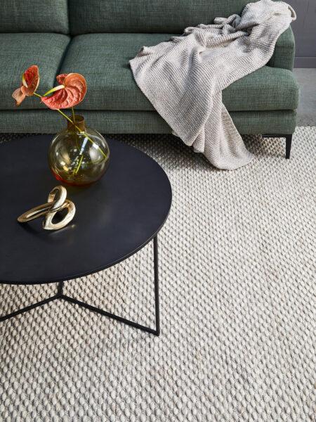 Palmas Beige Handwoven textural flatweave rug in 100% wool