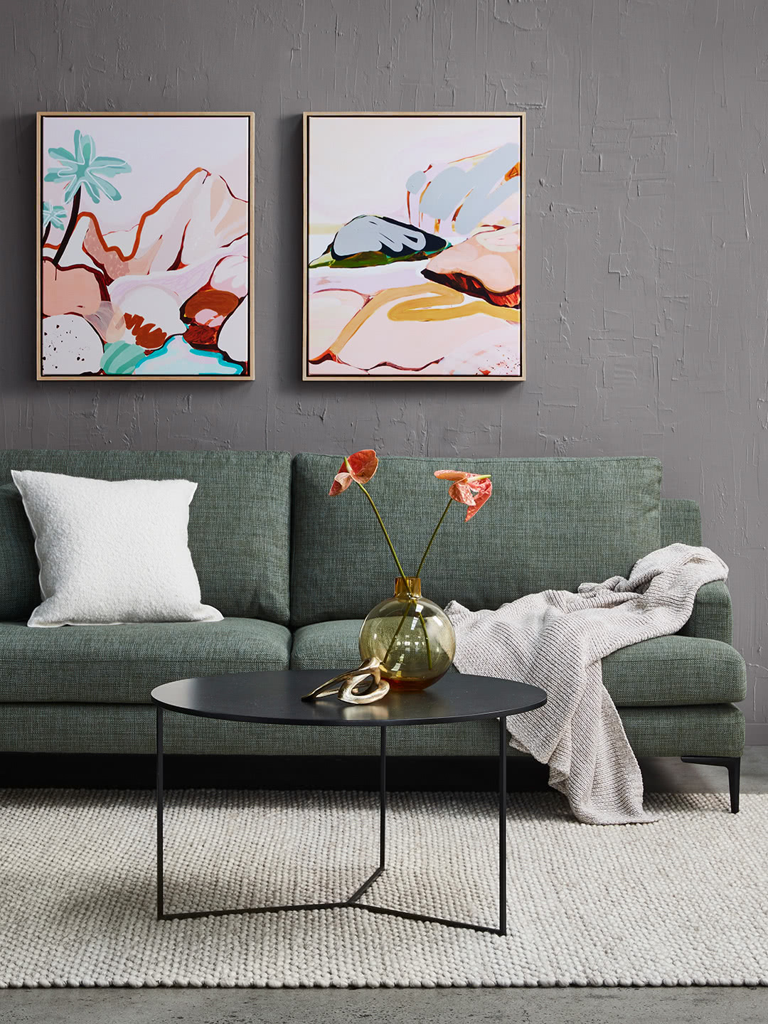 Zane Sofa in Banksia textured fabric with Mia round side table