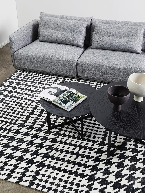 Audrey Black & White houndstooth pattern rug - lifestyle image