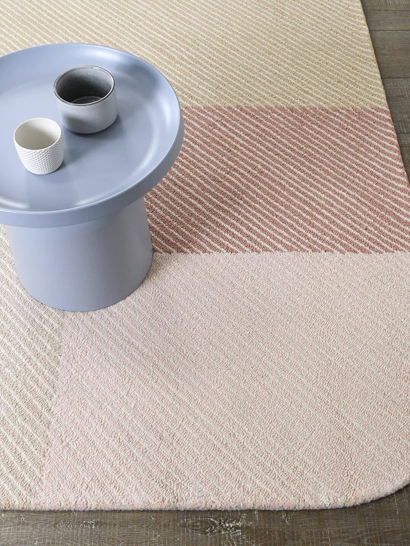 Pinstripe Blossom modern handtufted loop pile rug in pink tones