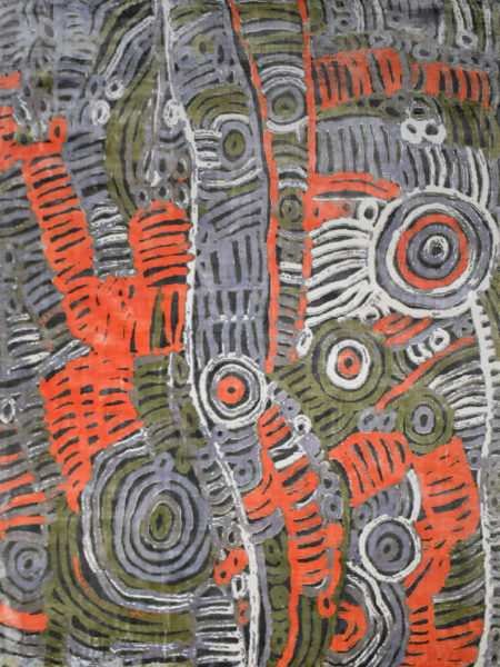 Akarley by Charmaine Pwerle - Indigenours rug design in orange, green and grey colours - overhead image
