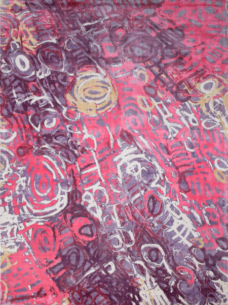 Malangka by Charmaine Pwerle - Indigenours rug design in pink and purple colours - overhead image