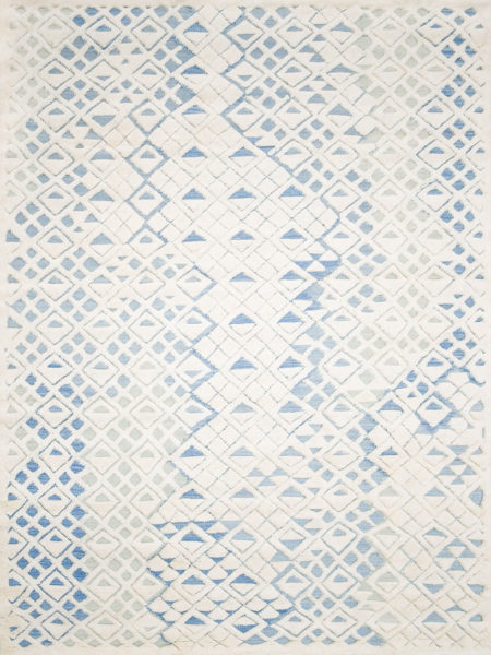 Fitzroy Marine blue & white handknotted rug in 100% wool - overhead image