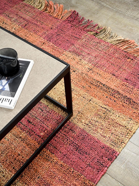 Manchester Flamingo handwoven jute rug with fringe - lifestyle image