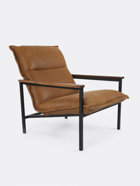 mateo leather chair with wood arms