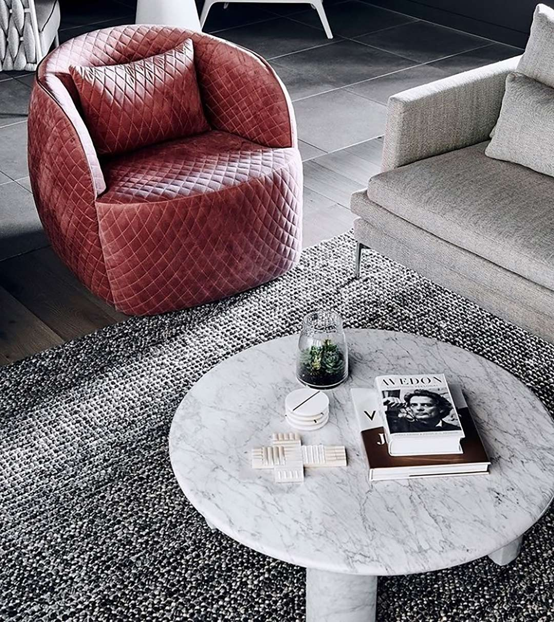 Magic Storm rug featured in this ultra-chic suite by style talent Two Style Interiors