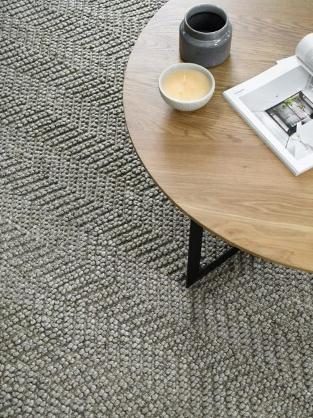 Caspian Taupe textured chevron design rug handwoven in wool and artsilk - lifestyle image